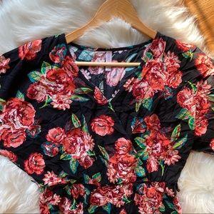 Xhilaration black floral jumpsuit